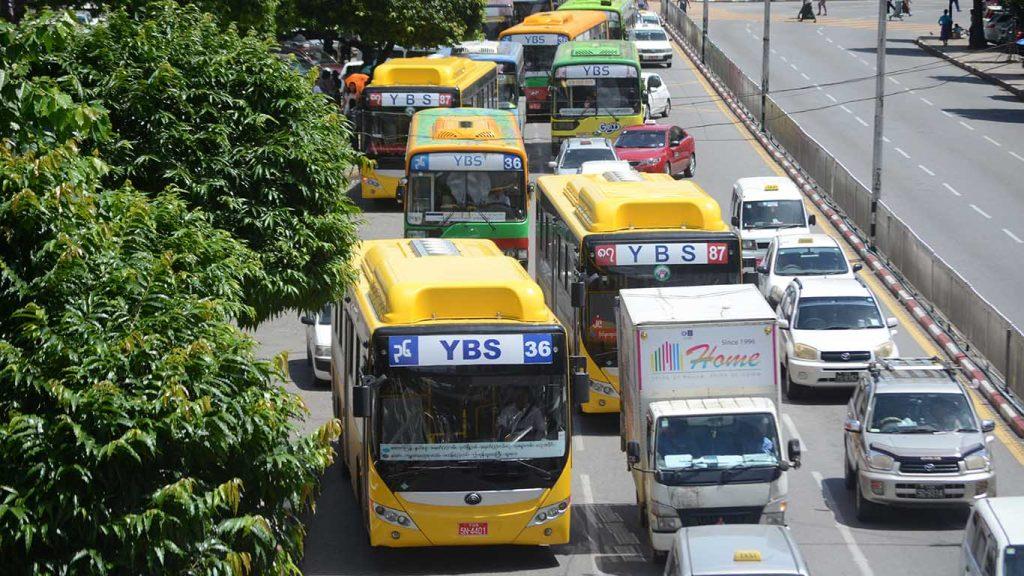 YBS buses seen in downtown Yangon. Photo: Phoe Khwar