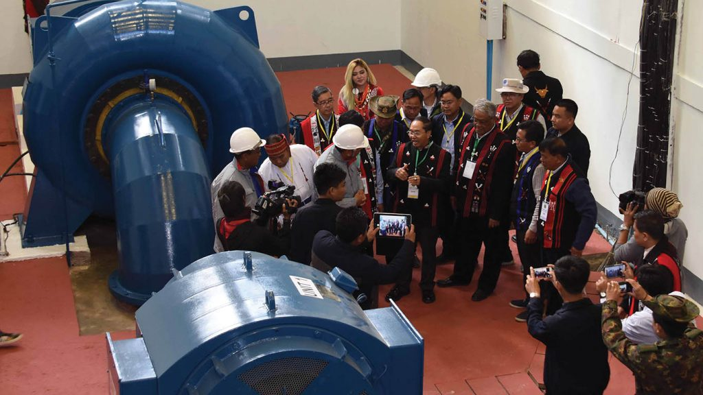 Vice President U Myint Swe and party inspect Taihkan hydropower station after attending the Naga New Year Festival in Nanyun in Sagaing Region in the north-west of Myanmar.  Photo: MNAVice President U Myint Swe and party inspect Taihkan hydropower station after attending the Naga New Year Festival in Nanyun in Sagaing Region in the north-west of Myanmar.  Photo: MNA