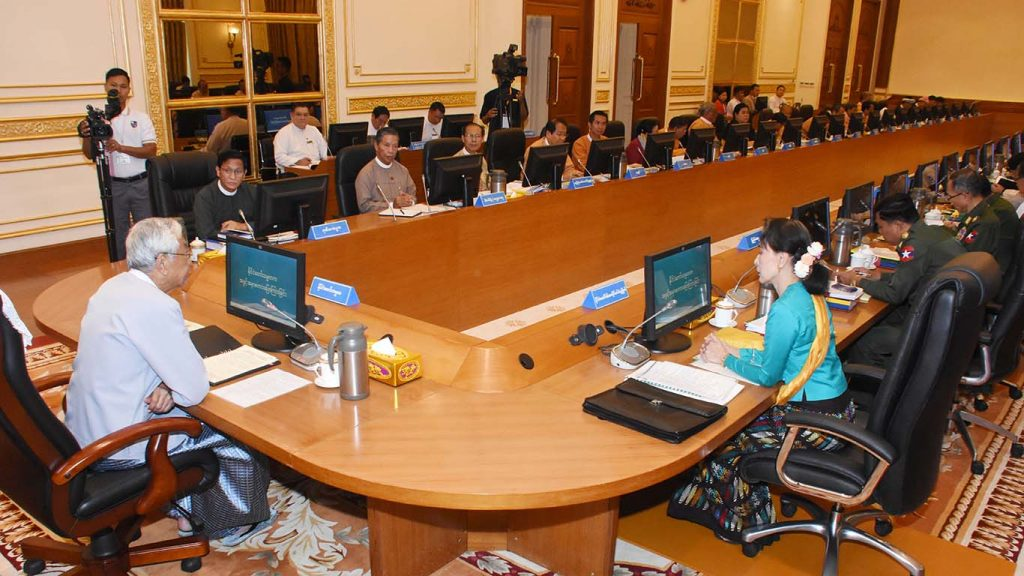 President U Htin Kyaw, who is also the chairman of the National Planning Commission, said yesterday that the National Planning Bill for the six-month transition period for the new fiscal year should maintain the current needs of the people, sustain development and stay within the budget allowed by the government.Photo: MNA
