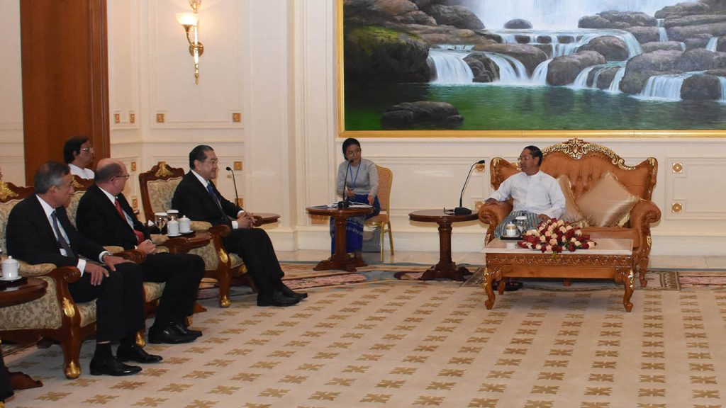 Vice President U Myint Swe holds talks with Prof. Dr. Surakiart Sathirathai, Chairman of the Advisory Board for the Committee for Implementation of the Recommendation on Rakhine State.Photo: MNA