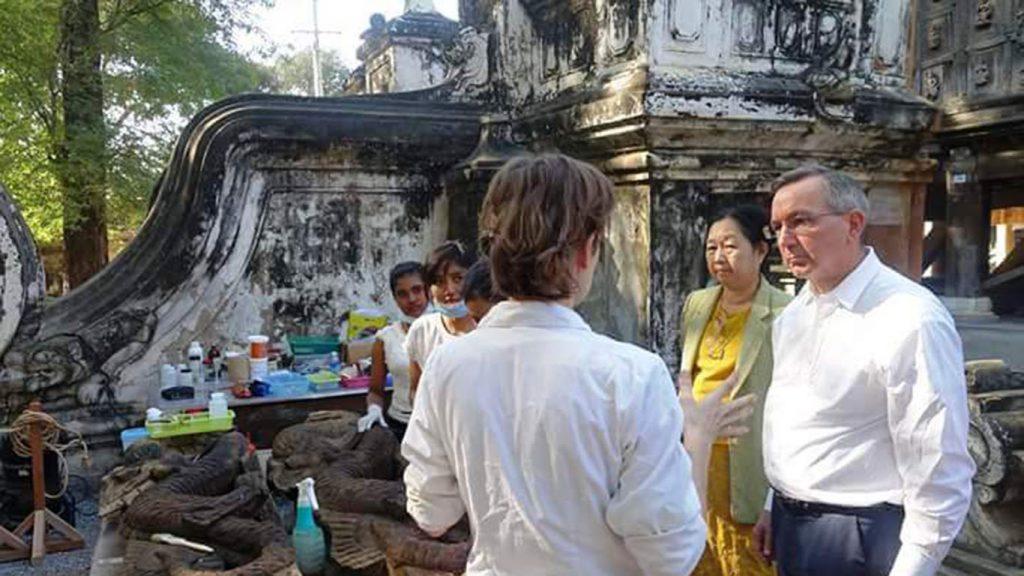 The US Ambassador to Myanmar Scot Marciel inspects the progress of the renovation at the Golden Palace Monastery in Mandalay.Photo: Thiha Ko Ko (Mandalay)