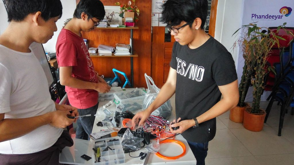 The team of Myanmar students prepares for the 1st international robotics competition.Photo: Hla Moe
