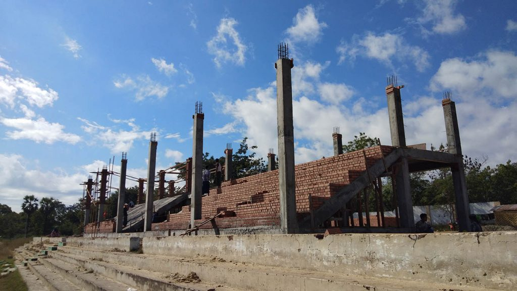 Grandstand seating for spectators construction site at Myoma athletic field. Photo: Myanmar Digital News