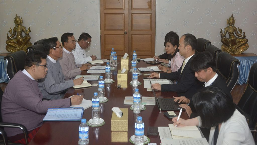 U Aung Hla Tun, Deputy Minister for Information holds talks with Japan MIC delegation.Photo: MNA