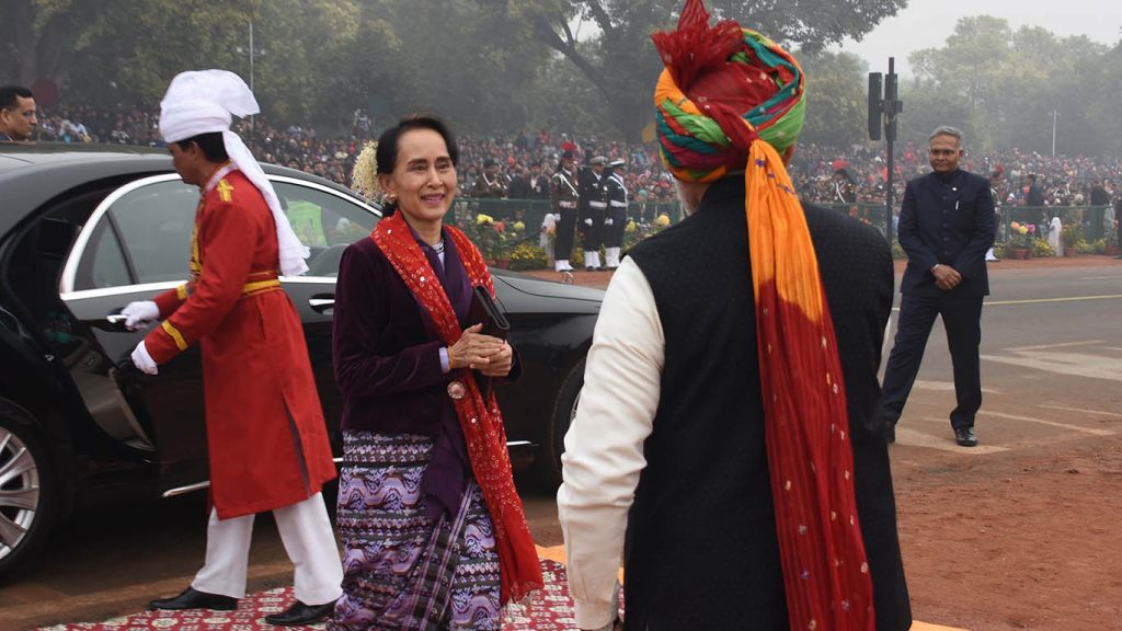 State Counsellor Daw Aung San Suu Kyi is welcomed by Indian Prime Minister Narendra Modi as she arrives at the celebration of the 69th Republic Day of India in New Delhi yesterday. The State Counsellor joined nine other ASEAN leaders as special guests. Photo: MNA
