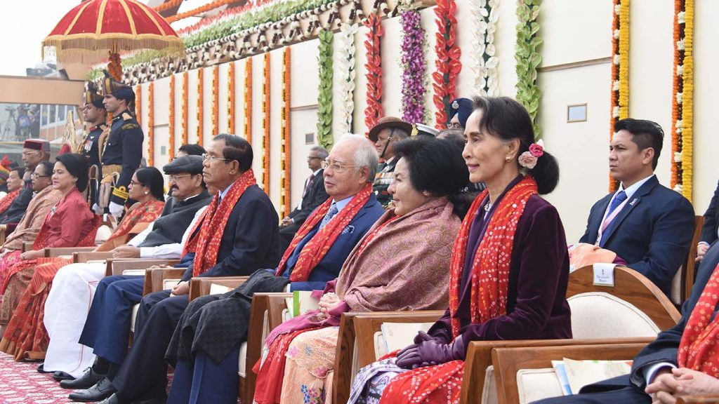 State Counsellor Daw Aung San Suu Kyi observes the parade at the celebration of the 69th Republic Day of India yesterday. Photo: MNA