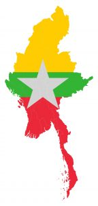 Myanmar Map Clipping Mark with Flag 72