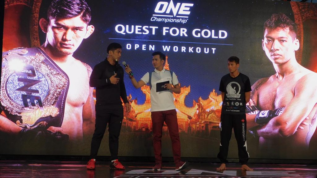 Aung La N Sang answers question at ONE QUEST FOR GOLD on 23 January. Photo: Supplied