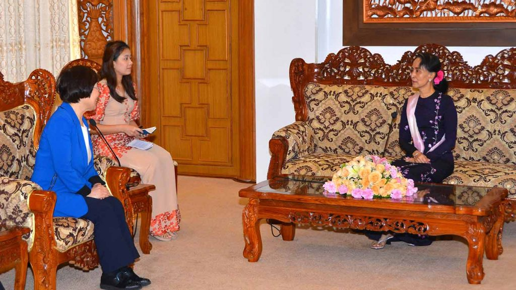 State Counsellor Daw Aung San Suu Kyi receives Ms. Lee Mikyung, President of KOICA.Photo: MNA
