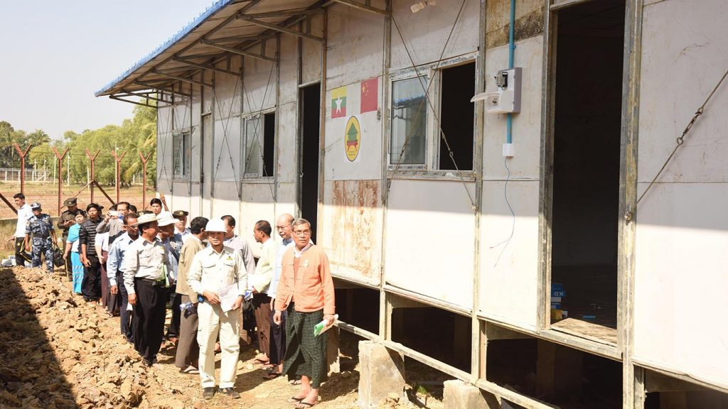 Authorities inspect houses to be used for repatriation of returnees in Taung Pyo Letwe, Maungtaw, Rakhine State.Photo: Htay Aung