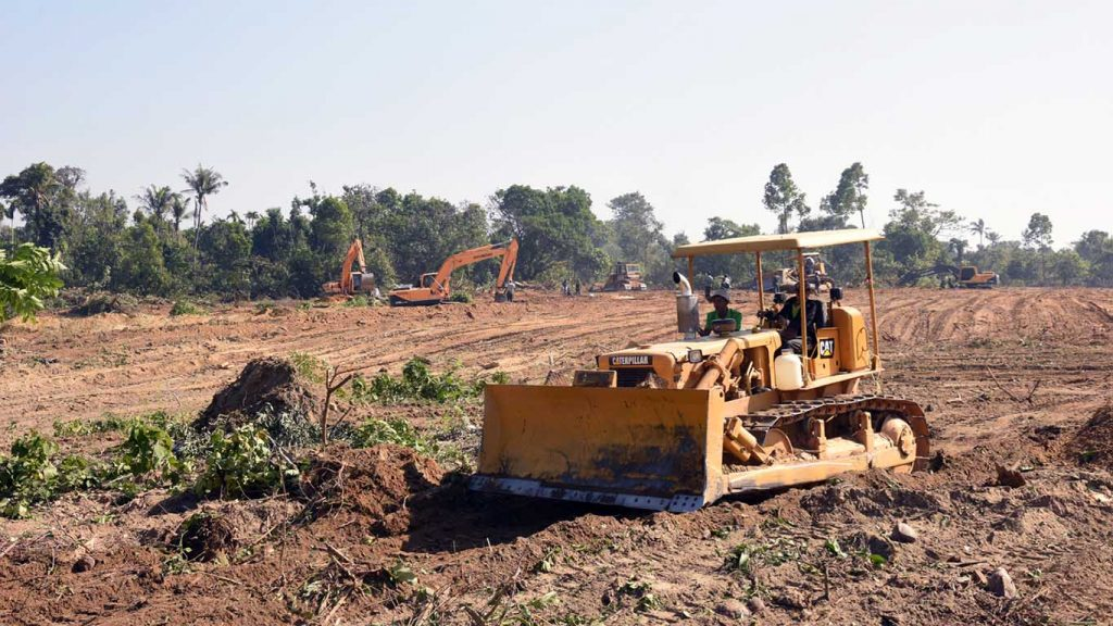 Land is prepared in Hlaphoekhaung Village in Maungtaw District, Rakhine State on which buidlings will be constructed and used for temporary housing for returning refugees. Photo: Aung Ye Thwin