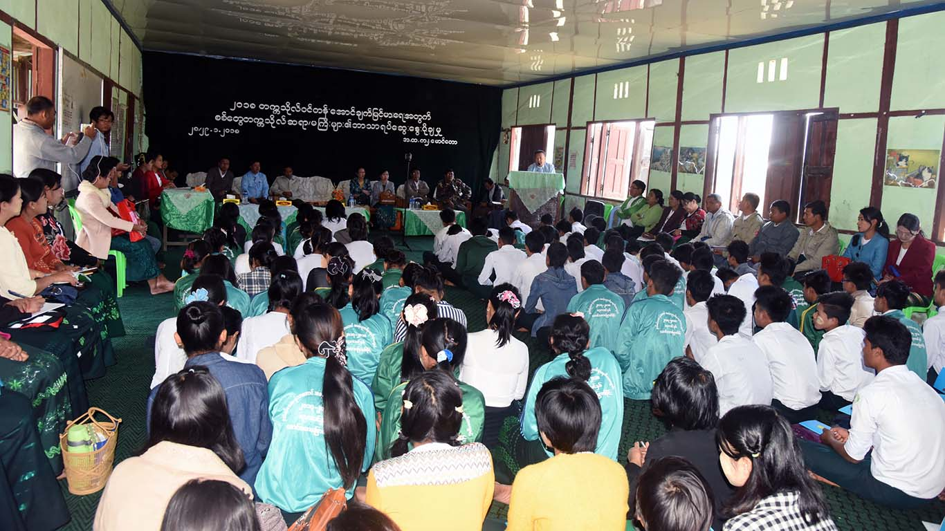 Faculty members meeting with schoolchildren in Maungtaw. Photo: Aung Min