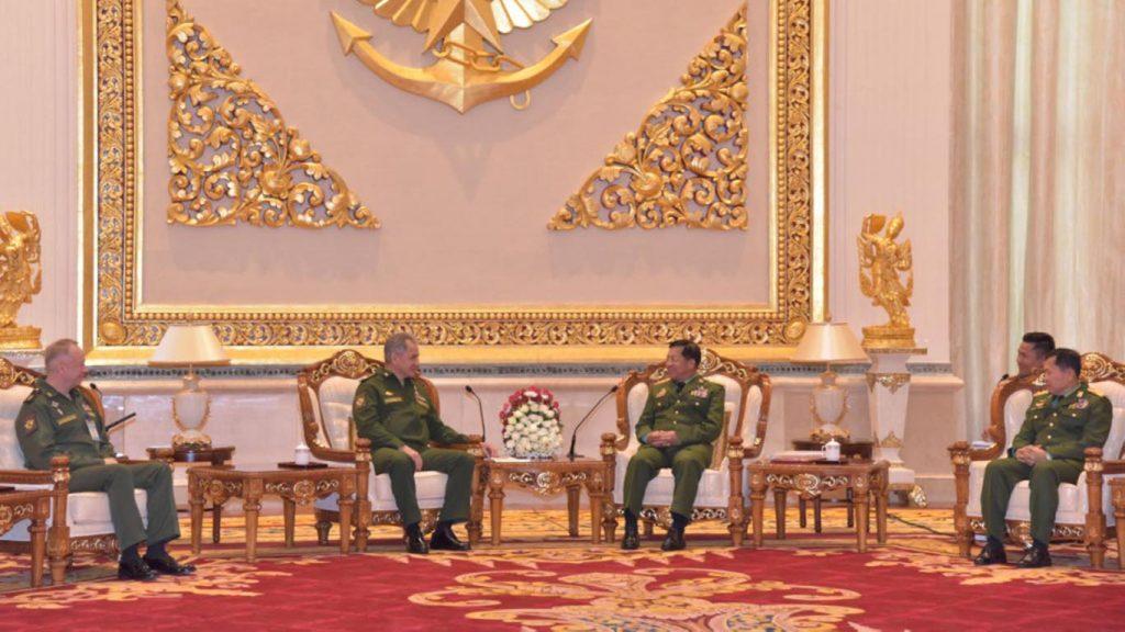 Senior General Min Aung Hlaing receives Russian Army General Sergei K. Shoigu in Nay Pyi Taw.Photo: MNA