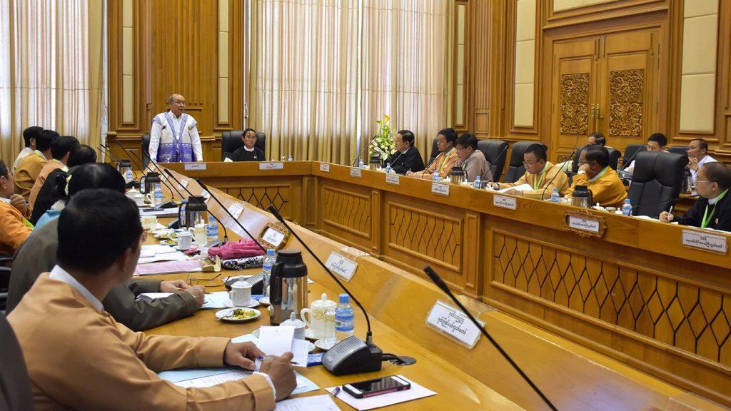 MPU Chairman, Pyidaungsu Hluttaw Speaker Mahn Win Khaing Than addresses  the Myanmar Parliamentary Union (MPU) Meeting 2/2018 in Nay Pyi Taw Hluttaw Building yesterday.Photo: MNA