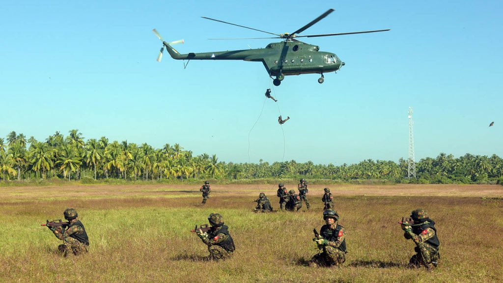 Troops of the Tatmadaw take part in a military exercise at Ayeyawady Region yesterday.Photo: Myanmar News Agency
