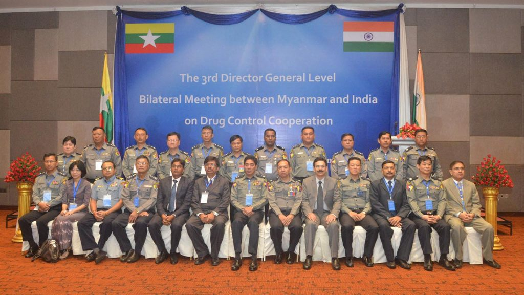 Officials pose for the documentary photo at the bilateral meeting between Myanmar and India on Drug Control Cooperation.Photo: Police Information and Public Relation