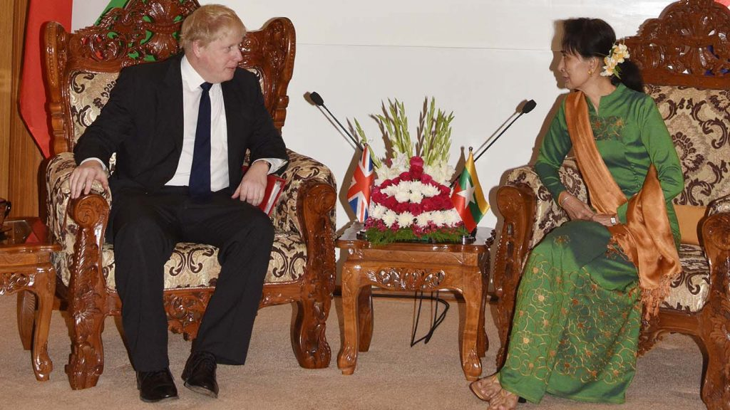 State Counsellor Daw Aung San Suu Kyi meets Rt. Hon. Boris Johnson MP at Ministry of Foreign Affairs in Nay Pyi Taw yesterday.  Photo: MNA