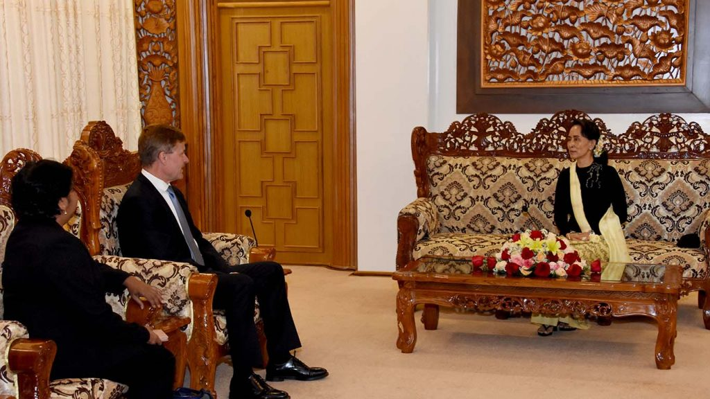 State Counsellor Daw Aung San Suu Kyi receives Mr. Erik Solheim, Executive Director of UN Environment and Under-Secretary-General of the United Nations, in Nay Pyi Taw yesterday.Photo: MNA