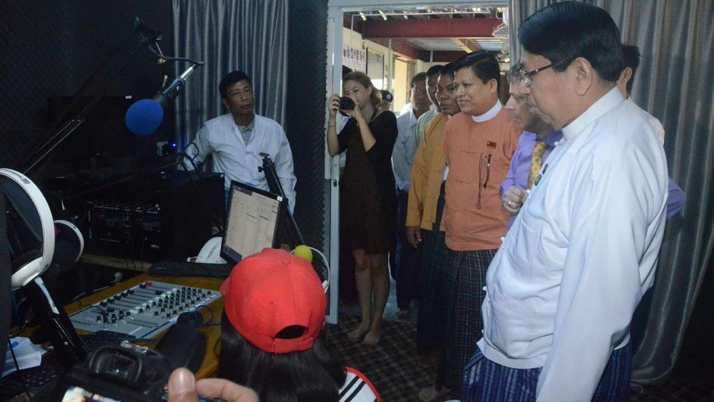 Union Minister Dr. Pe Myint  and dignitaries visit Khayae FM-Htan Tabin Community Radio. Photo: MNA