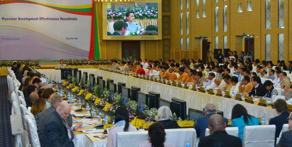 State Counsellor Daw Aung San Suu Kyi delivers the opening speech at the Myanmar Development Effectiveness Roundtable in Nay Pyi Taw. Photo: Myanmar News AGency