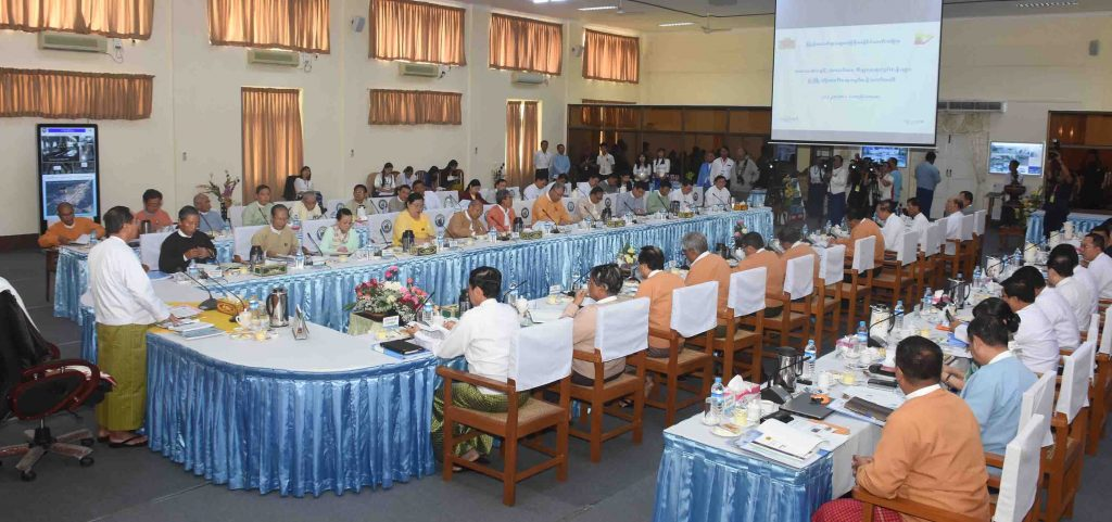 Vice President U Myint Swe delivers the speech at the Small and Medium Enterprises Development Committee meeting in Nay Pyi Taw. Photo: MNA