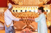 President U Htin Kyaw accepts credentials of the Ambassador of the Argentine Republic