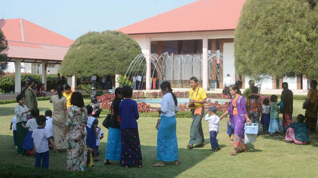 Day care centre children and teachers from the Department of Agricultural Research enjoy their public holiday discovering the different ethnicities of Myanmar. Photo: aye Than