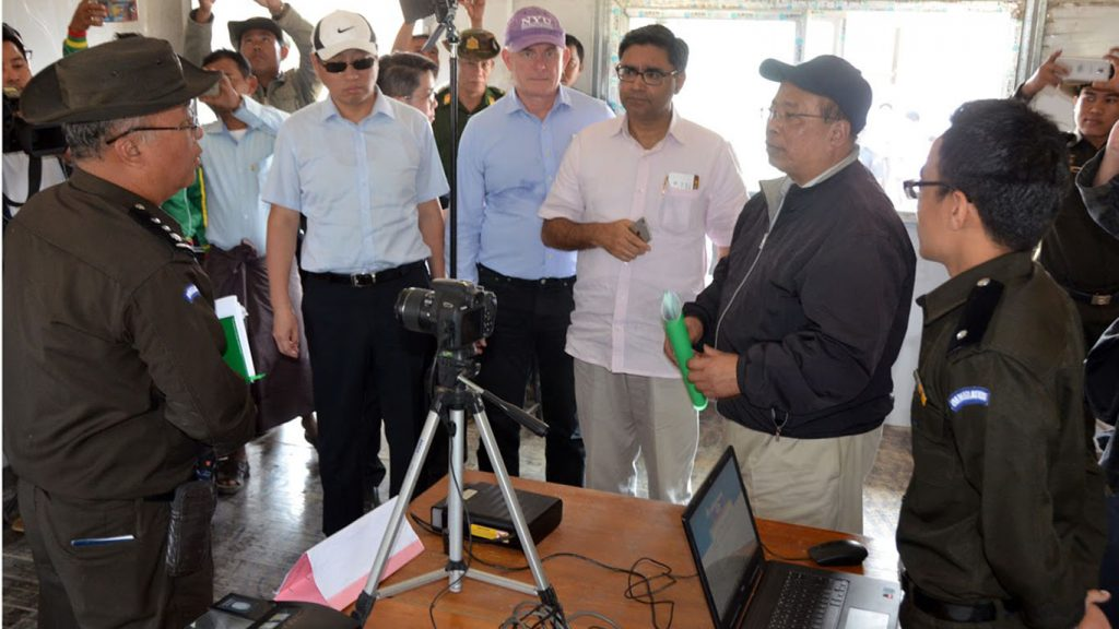 Union Minister U Thaung Tun and diplomats views readiness for scrutinisation at a repatriation camp in Maungtaw.Photo: MNA