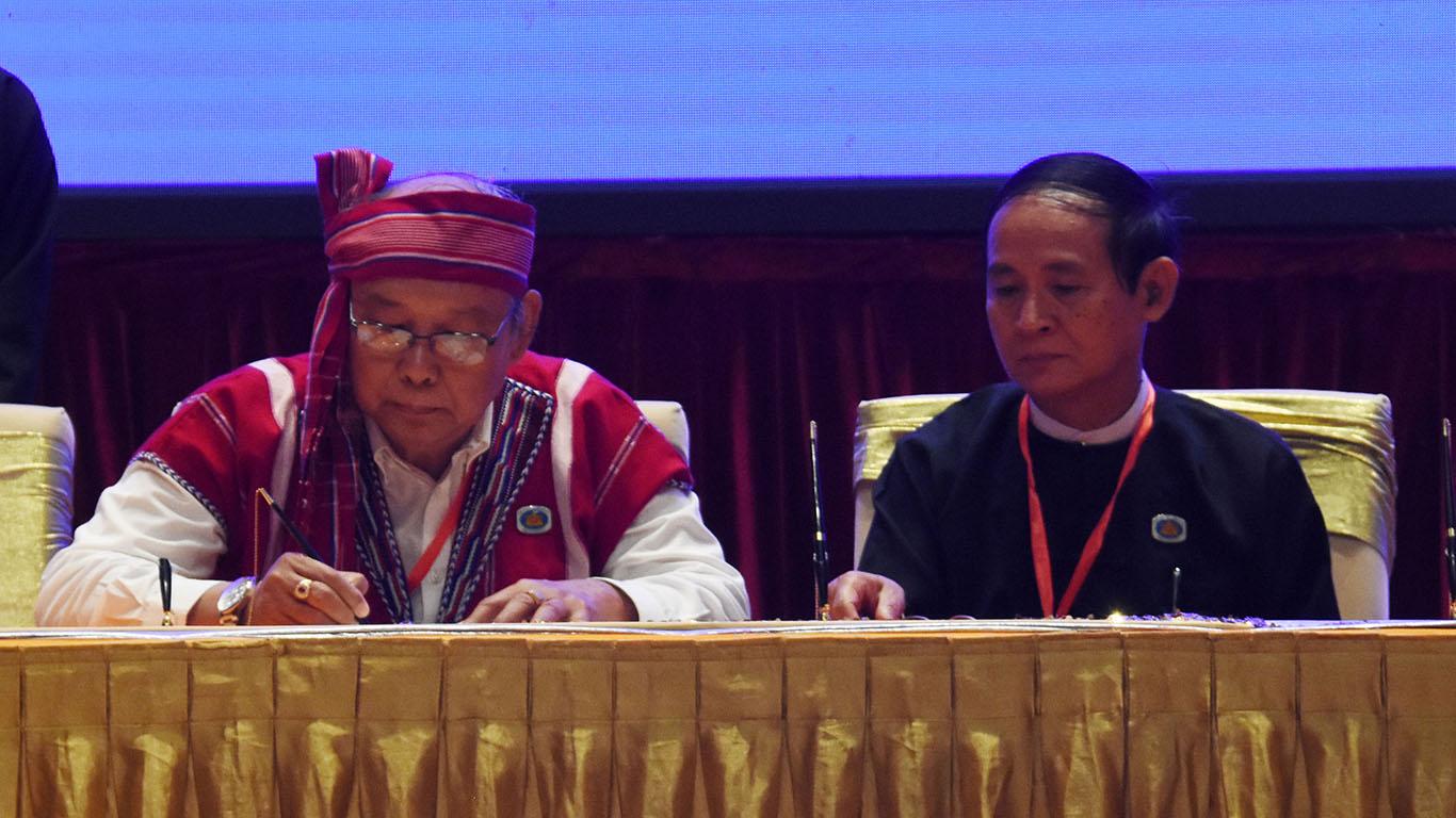 Amyotha Hluttaw Speaker U Mahn Win Khaing Than signs Nationwide Ceasefire Agreement. Photo: MNA