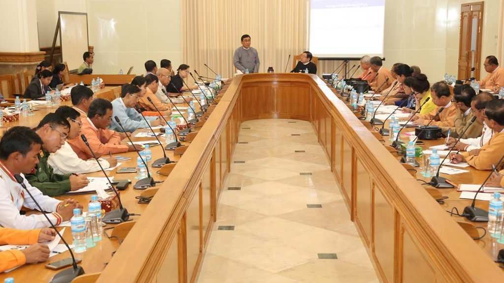 Dr. Win Myat Aye addresses the meeting with members of the Hluttaw Affairs Committee. Photo: MNA