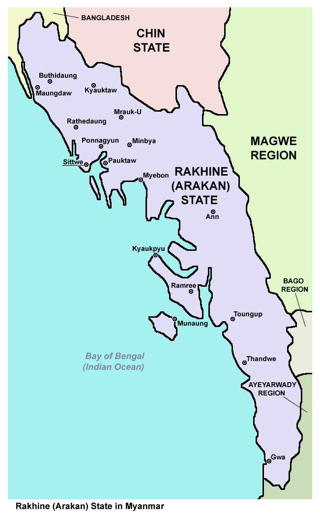 Map of Rakhine Arakan State in Myanmar