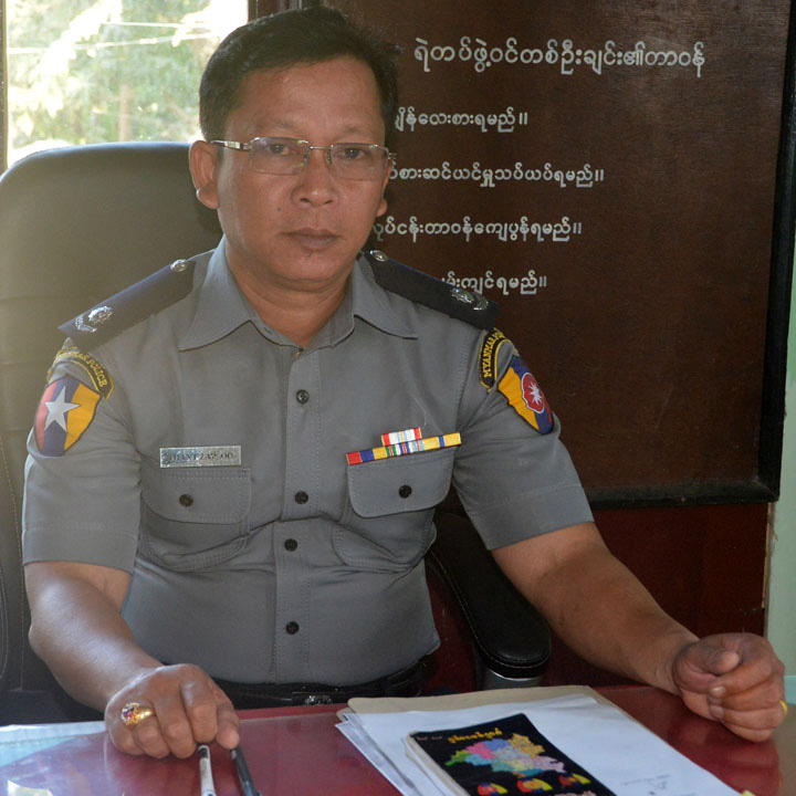 Police Major Thant Zaw Oo. Photo: Ramanya