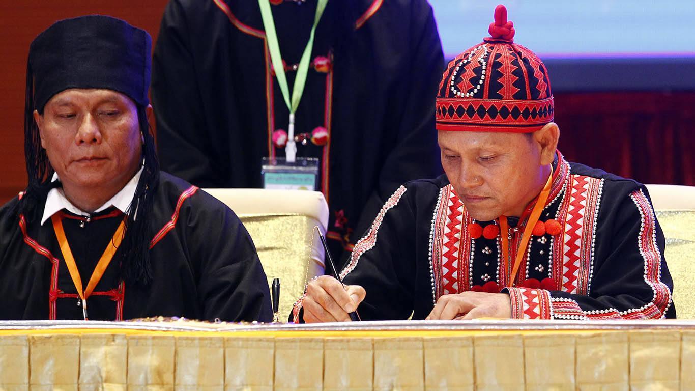LDU Chairperson Kyar Kun Sar signs Nationwide Ceasefire Agreement in Nay Pyi Taw. Photo: MNA