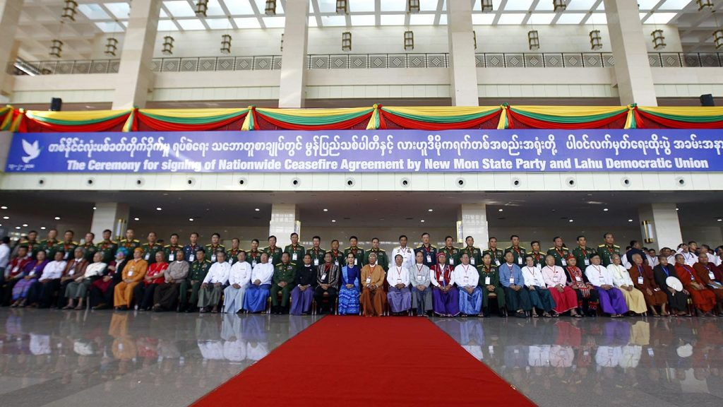 Leaders of the Union Government and stakeholders in the peace making process pose for a photo taken after the NCA signing ceremony yesterday in Nay Pyi Taw.Photo: MNA