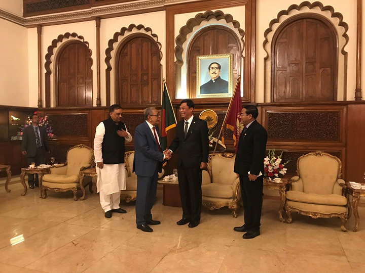 Union Minister for Home Affairs Lt-Gen Kyaw Swe meets with Bangladesh President Hon. Mr. Md. Abdul Hamid at the official residence of the President of Bangladesh. Photo: MNA