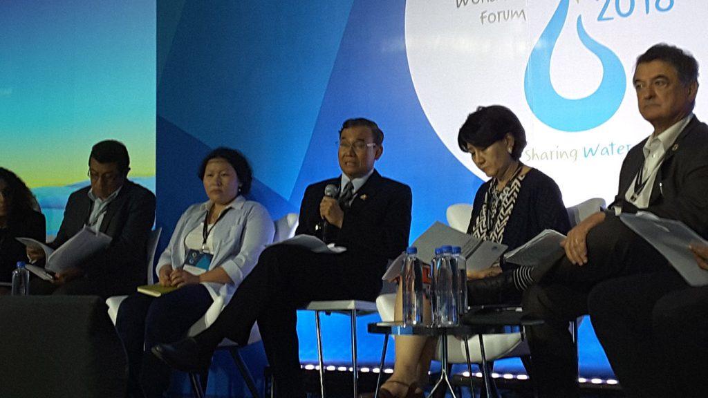 Union Minister U Ohn Win attends 8th World Water Forum in Brazil.Photo: MNA