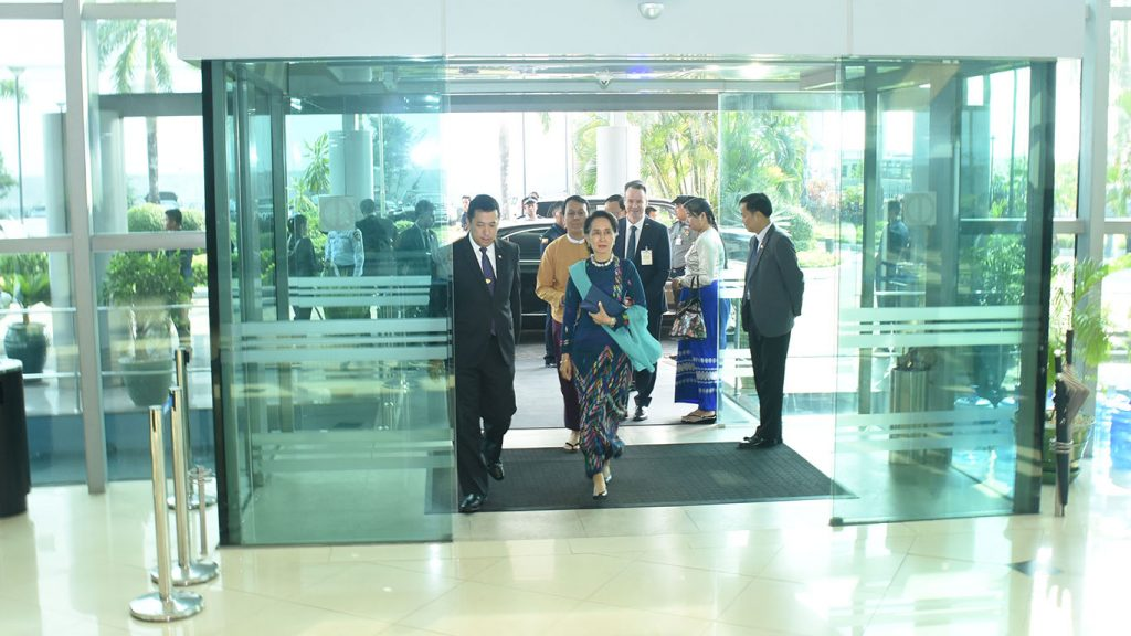 State Counsellor Daw Aung San Suu Kyi arrives at Yangon International Airport on her way to Sydney yesterday to pay an official visit and to attend the ASEAN-Australia Special Summit. Photo: MNA
