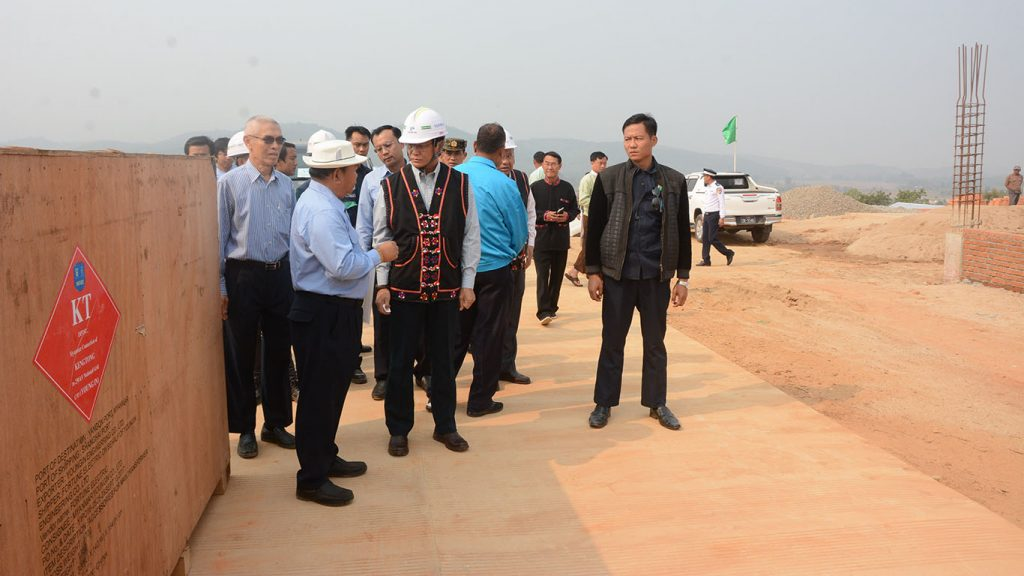 Vice President U Henry Van Thio inspects the construction site of the Kengtung substation in eastern Shan State.Photo: MNA