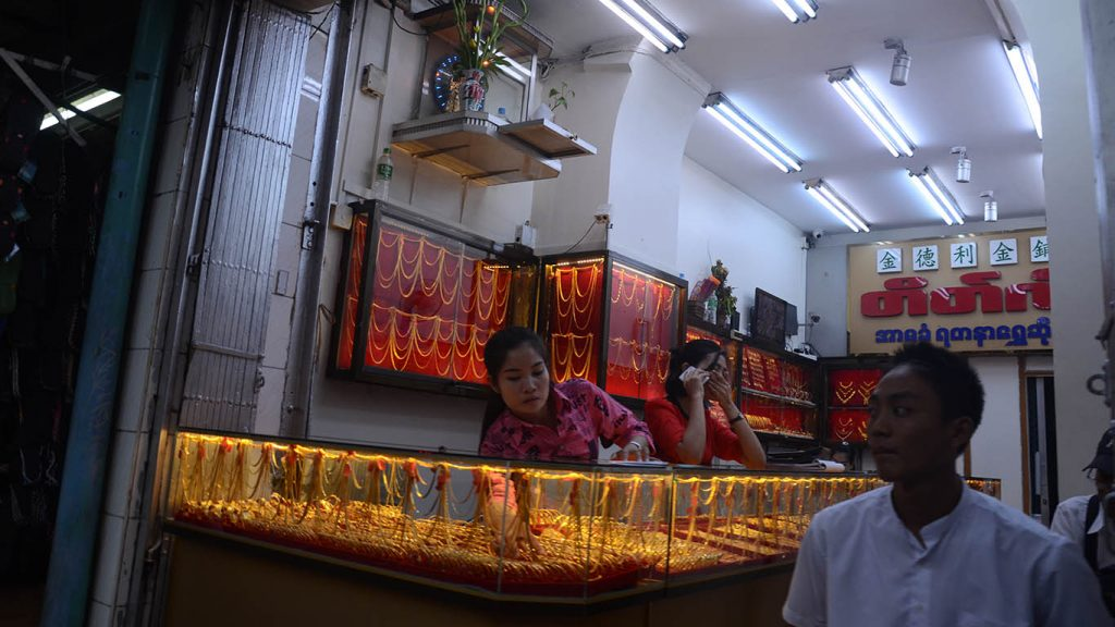 Gold being displayed at a jewellery shop. Photo: Phoe Khwar