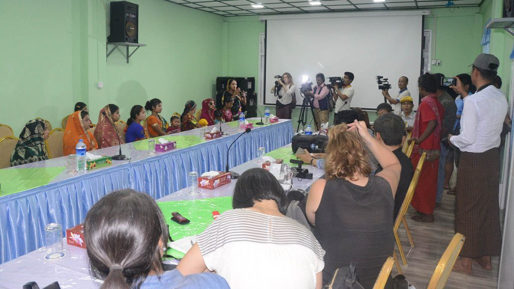 Hindu women, left, answering to questions from local and foreign media about their escape from ARSA terrorists who abducted them to Bangladesh.Photo: mna