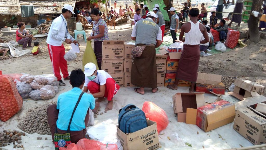 Youth volunteers prepare to deliver the aid to local people in villages in Maungtaw. Photo: Yamanya