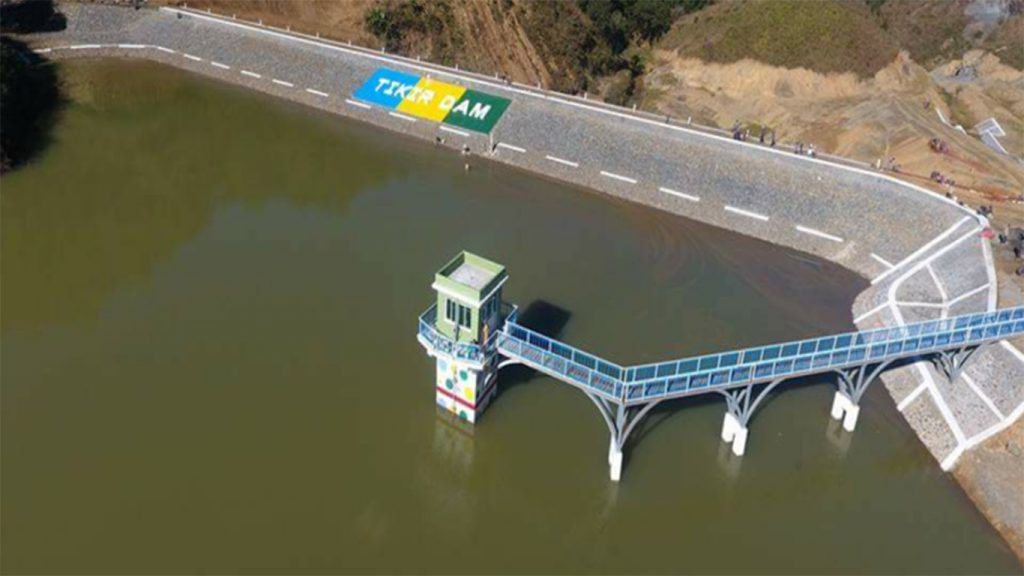Tikir Dam near Thantlang Town and Tikir Village in Chin State is 500-foot-long and 75-foot-high and can store 1,265 acre feet of water to 12 villages and produces 50 kilowatts of electricity through a mini-hydroelectric power station. Photo: MNA