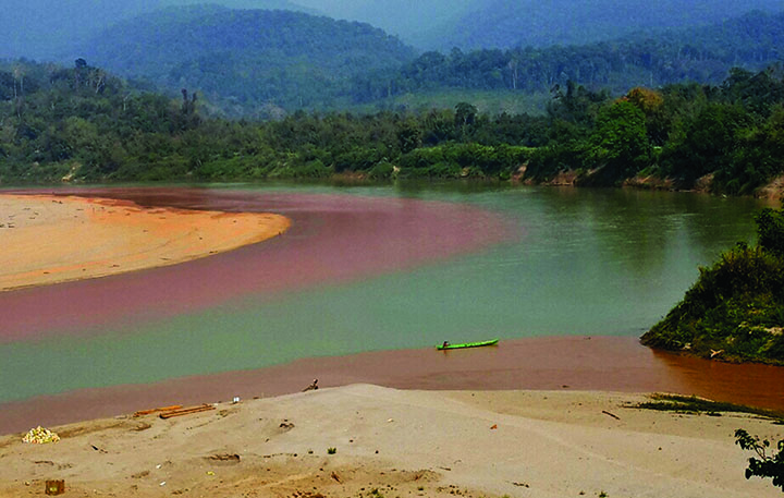 a handout photo show  Chindwin river silting up the mouth of its.