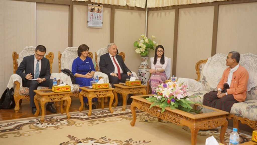 Rakhine State Chief Minister U Nyi Pu meets with Ambassador of Turkey Mr. Kerem Divanlioglu yesterday.Photo: MNA