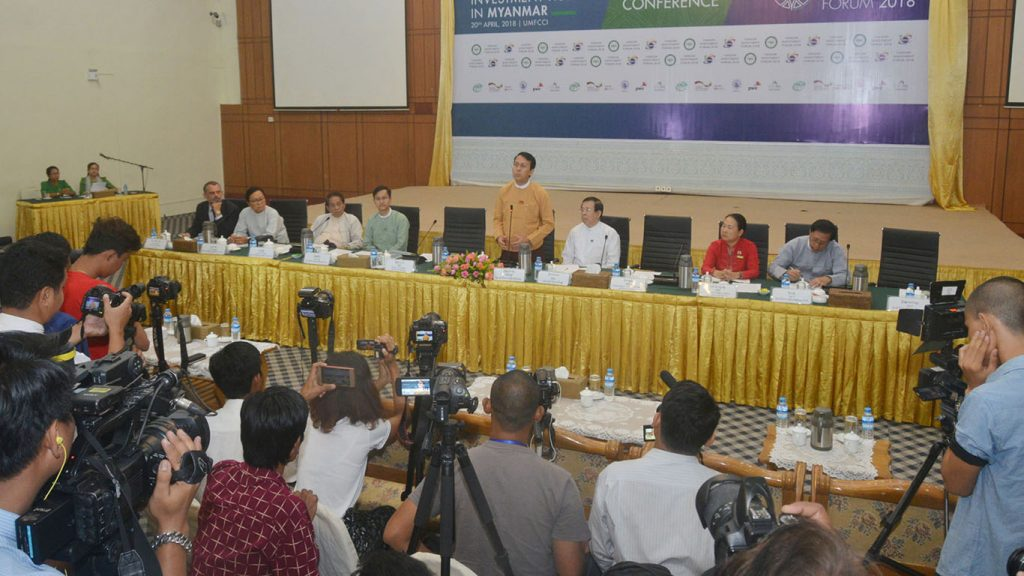 Yangon Region Chief Minister U Phyo Min Thein speaks to the media at a press conference after the Yangon Region Investment Commission's meeting at UMFCCI in Yangon yesterday.Photo: MNA