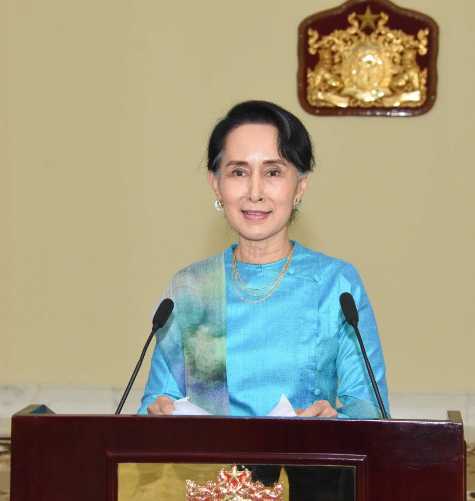 State Counsellor Daw Aung San Suu Kyi delivers speech on the 2nd anniversary of NLD Government.Photo: Myanmar News Agency