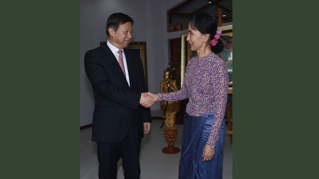 State Counsellor Daw Aung San Suu Kyi greets Mr. Song Tao, Minister of the International Department of the Communist Party of the People's Republic of China, in Nay Pyi Taw yesterday.Photo: MNA