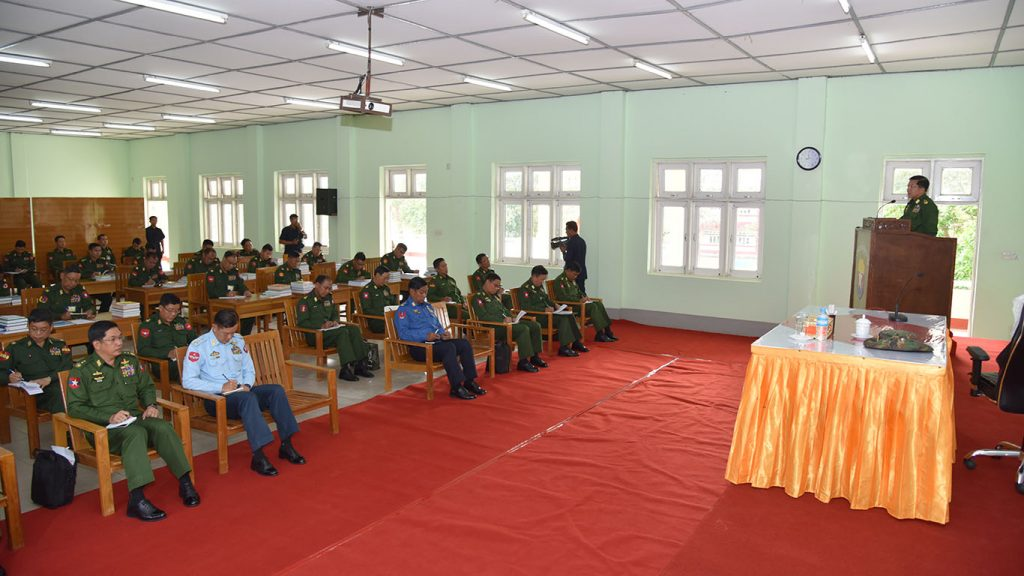 Senior General Min Aung Hlaing delivers the speech at the Defence Service Administration School in Pyin Oo Lwin.Photo: MNA