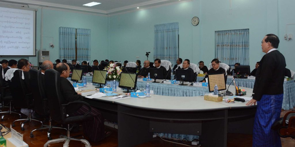 Union Chief Justice U Htun Htun Oo delivers the opening speech at the special coordination meeting to strengthen the judiciary sector at the Union Supreme Court meeting hall, Nay Pyi Taw yesterday.Photo: MNA