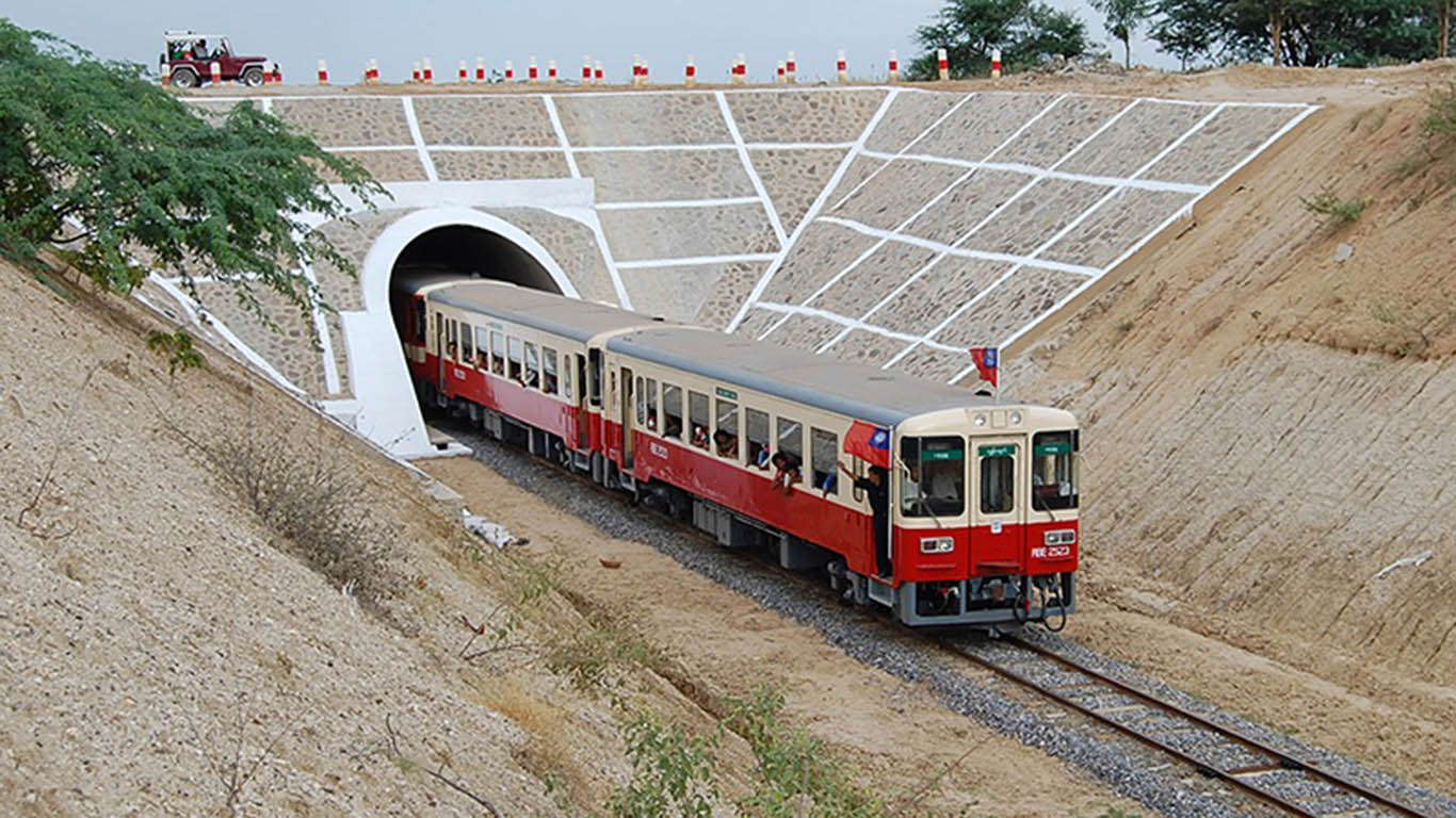 A train passes through a tunnel somewhere along railway tracks in Nay Pyi Taw.